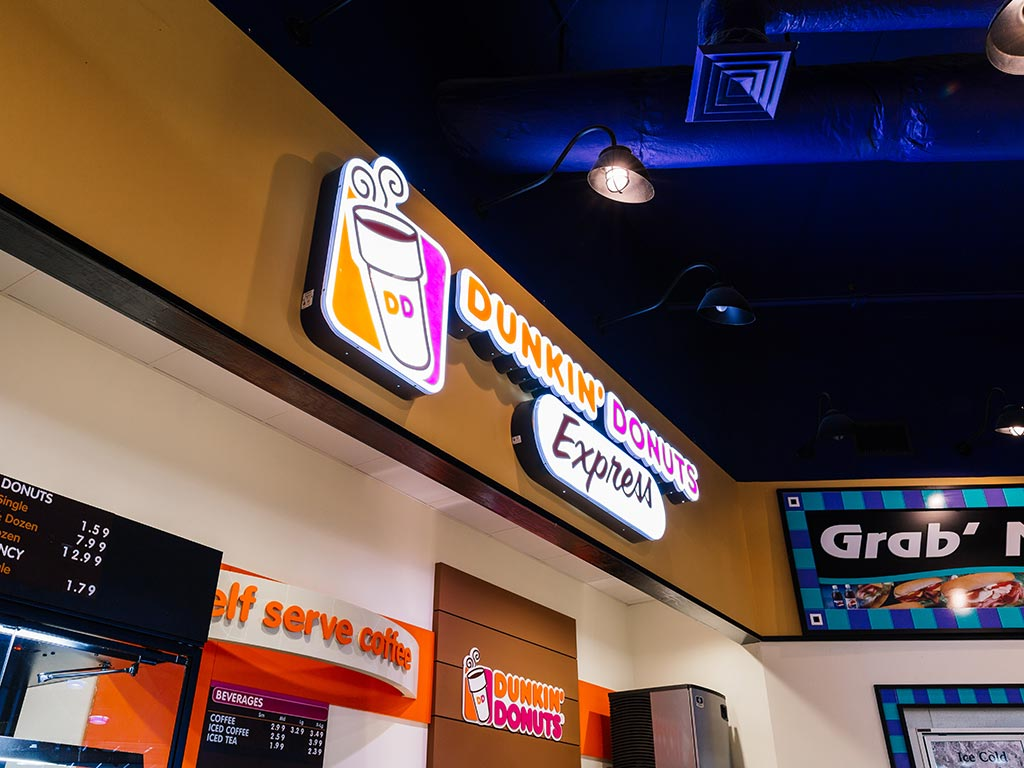 Dunkin Donuts store sign